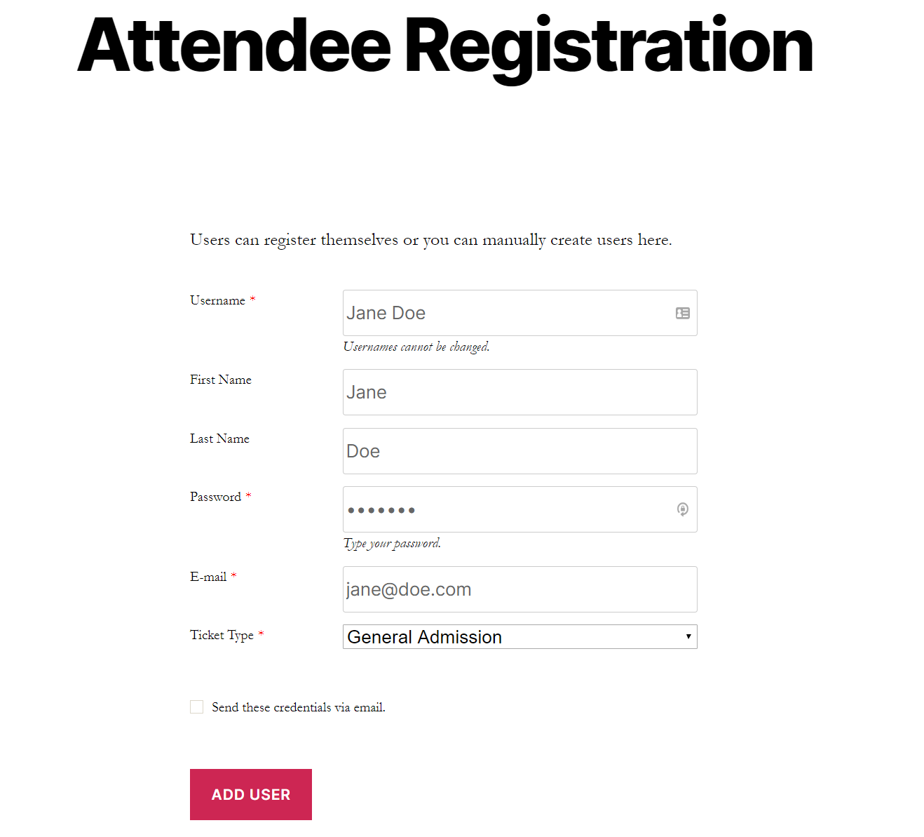 Preview of a user registration form
