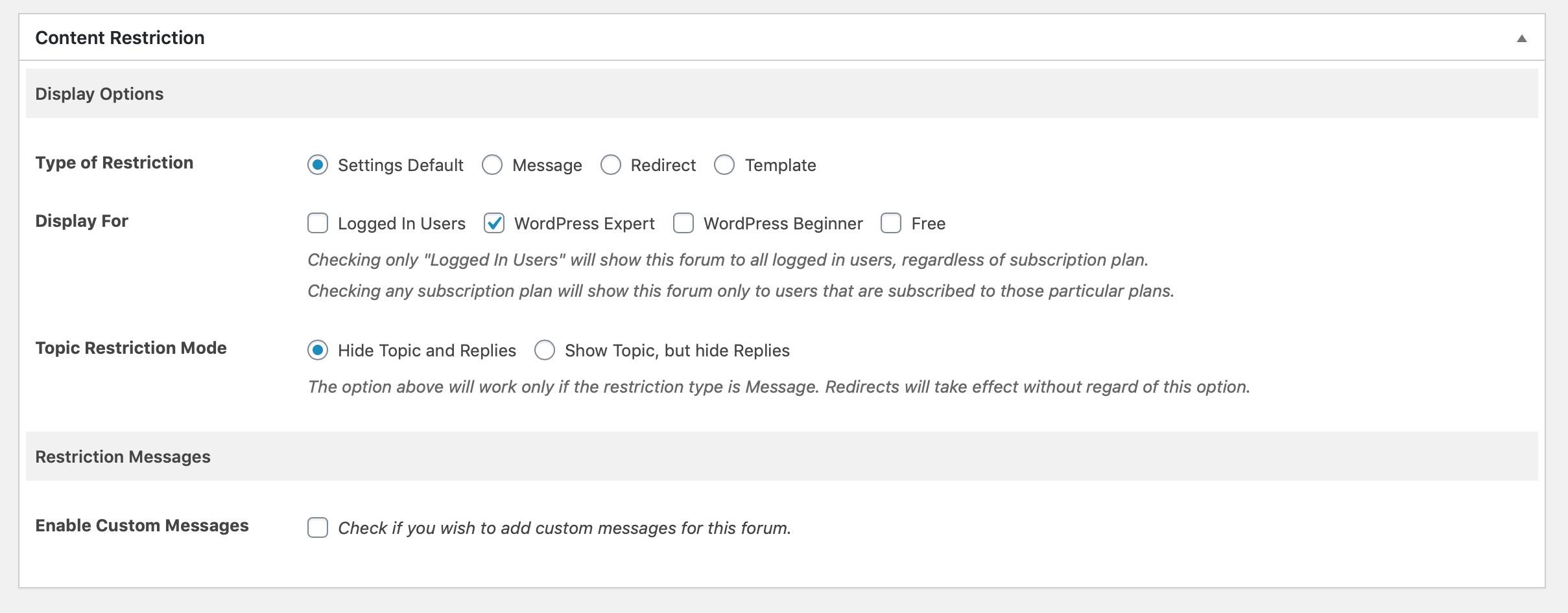 content restriction - forum
