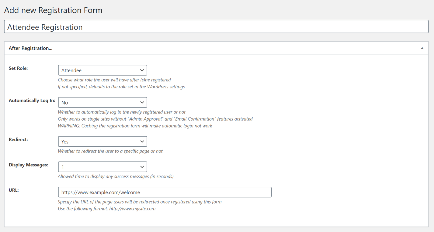 Multiple registration forms user role settings