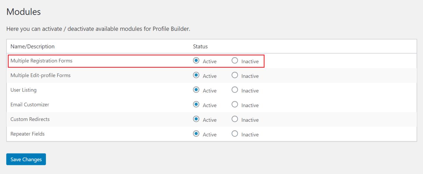 Activate multiple registration forms module