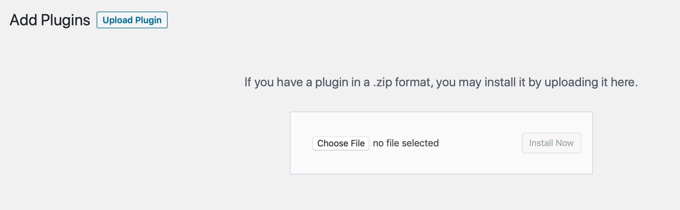 upload plugin screen