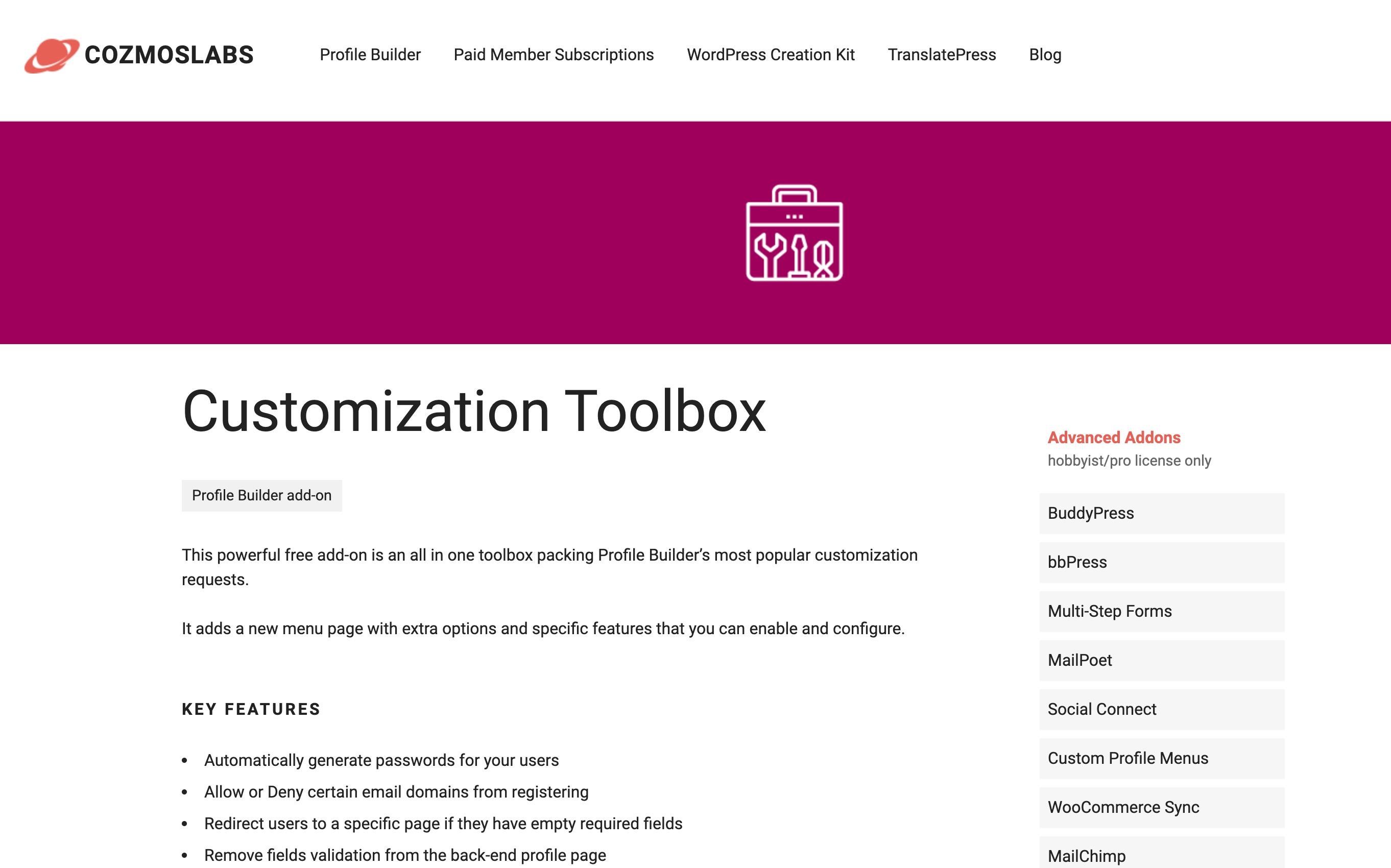 customization toolbox