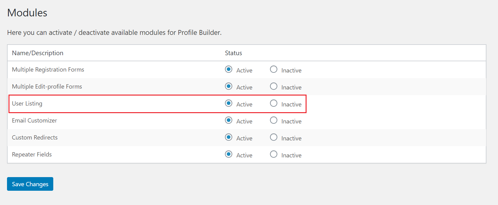 Activate user listing module