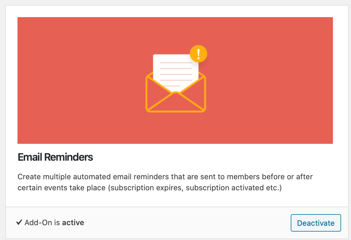 Screenshot of the email reminders addon