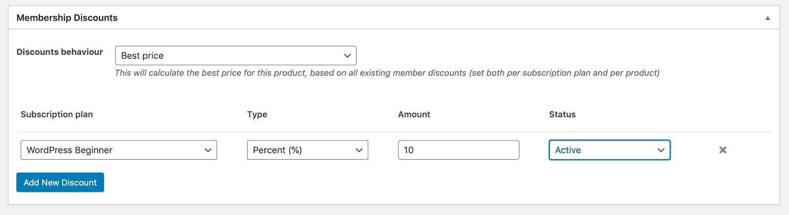Screenshot of a membership discount
