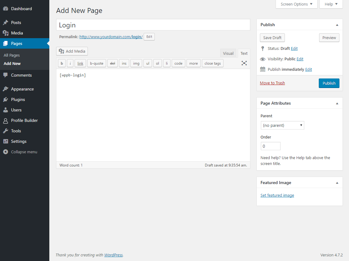 Image showing how to add user to WordPress