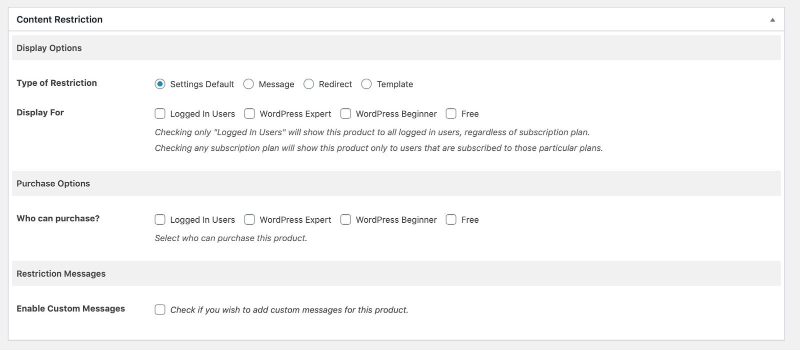 Screenshot of content restrictions for a WooCommerce product