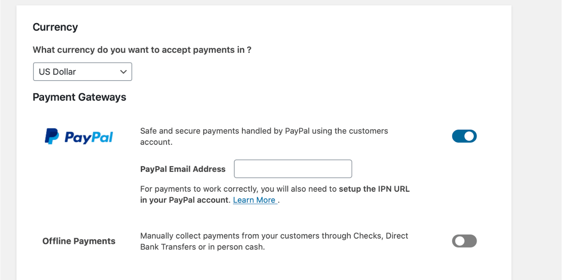 Screenshot of PayPal setup