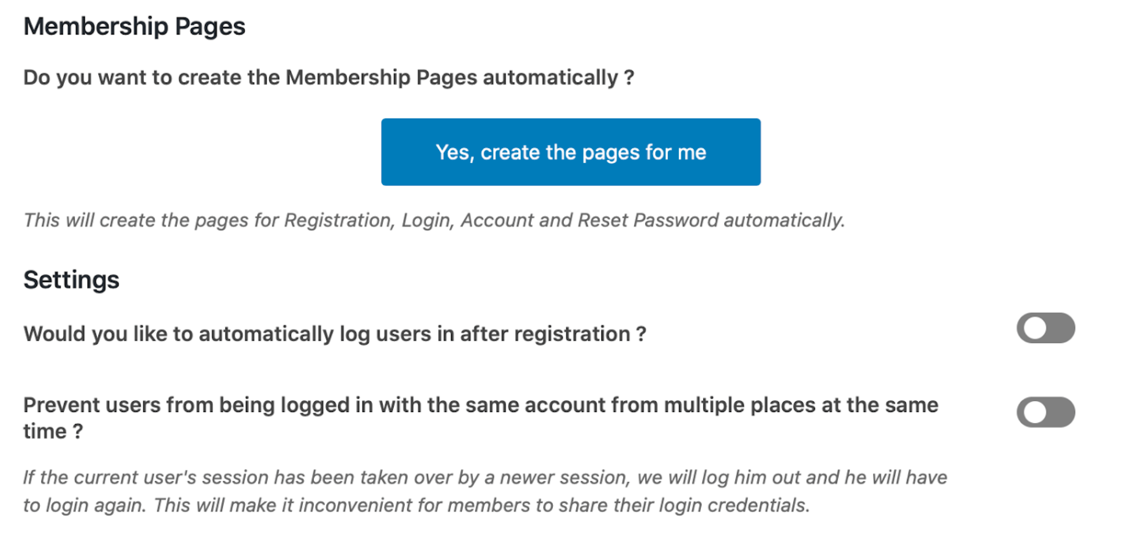 Screenshot of membership page setup