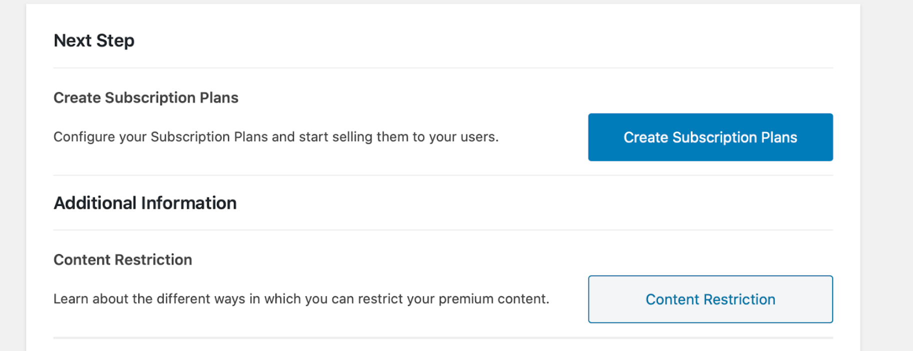 Screenshot of subscription plan setup