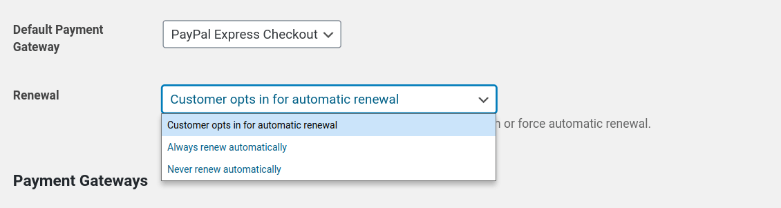 allow recurring payments and renewals