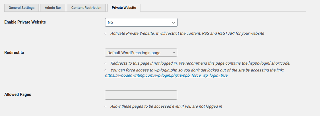 enable private website