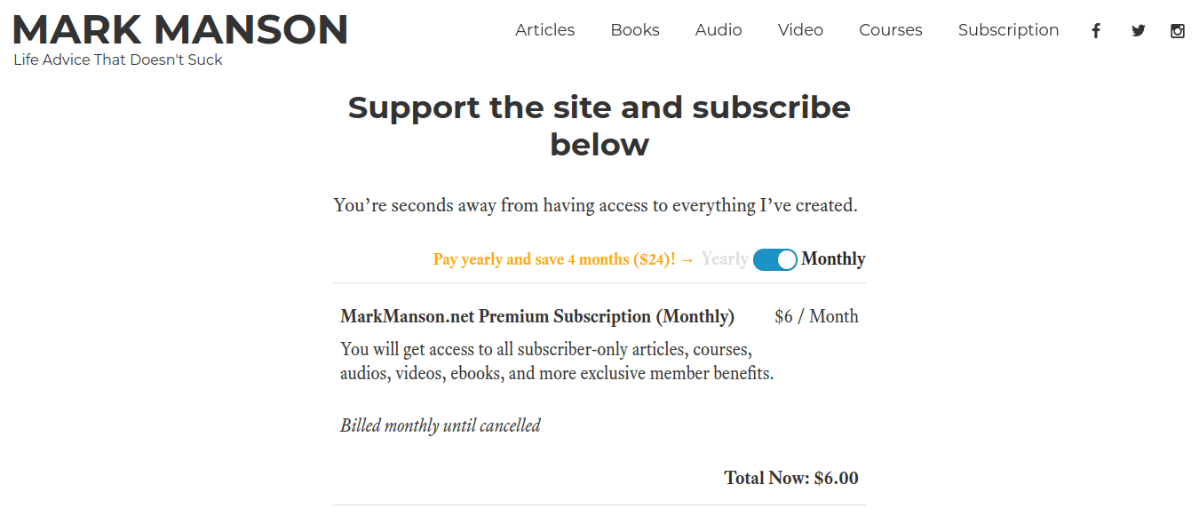 mark manson premium subscription