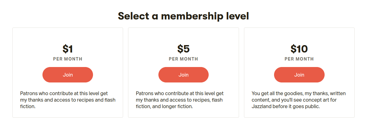 patreon subscription tiers