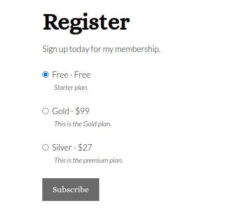 registration page sample