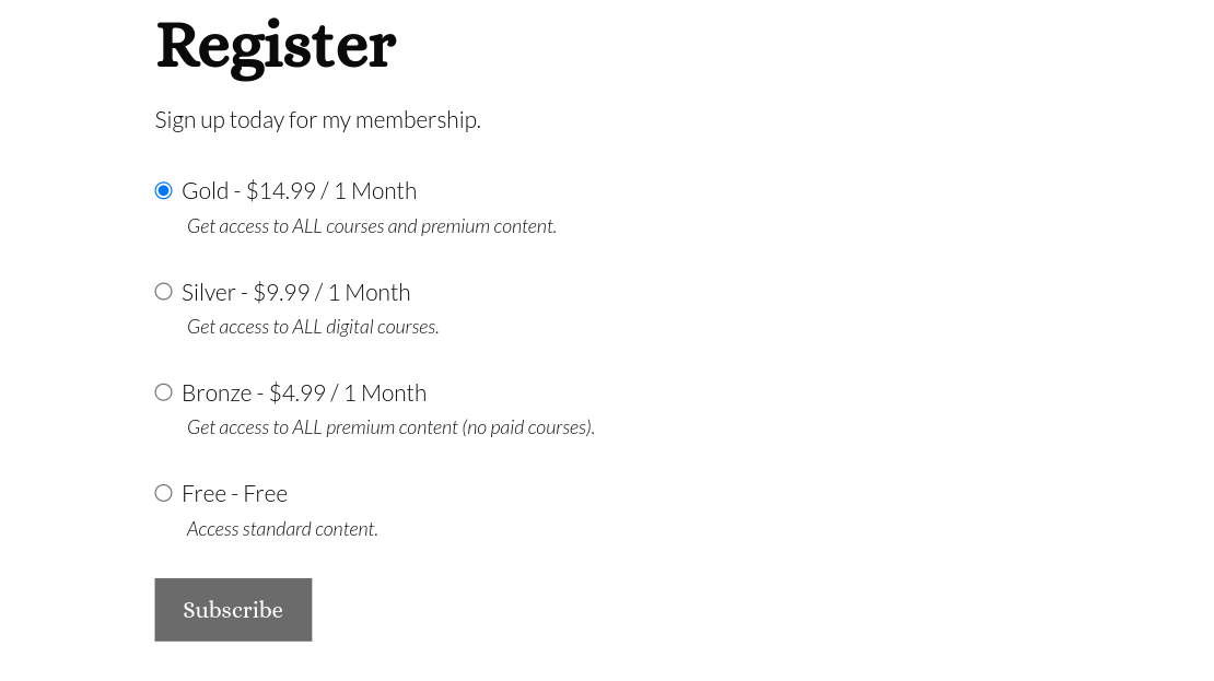 subscription tiers registration page