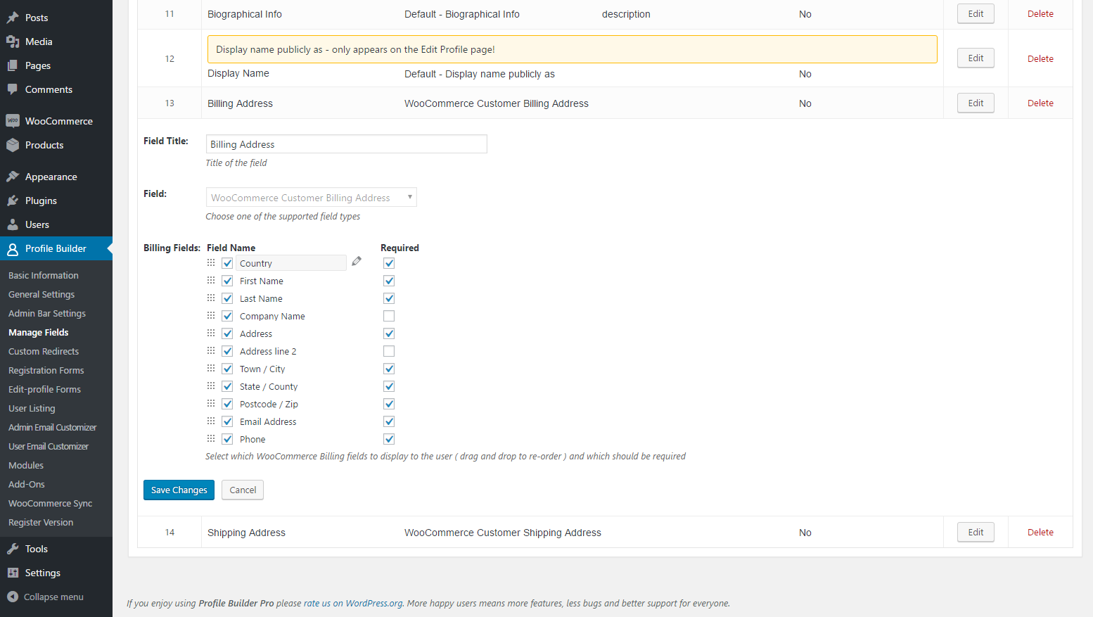 Managing WooCommerce Address Fields in Posts Builder Interface
