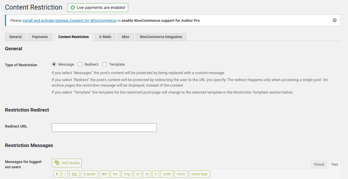 WordPress paid member subscription plugin content restriction settings