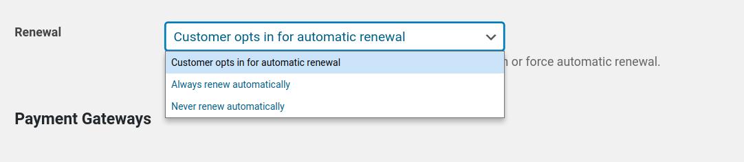 Paid Subscription Plugin set membership renewal