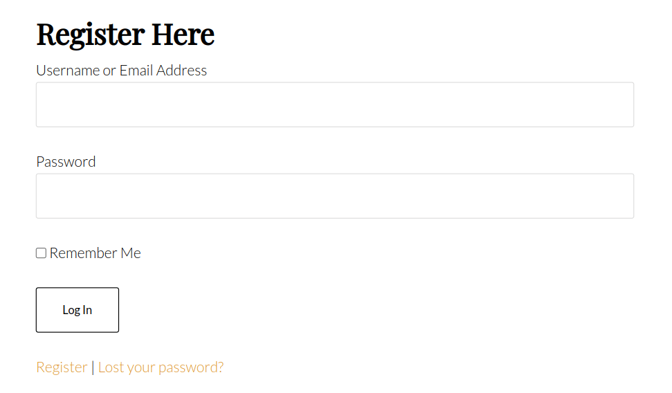 login form shortcode example