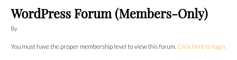 members only forum example