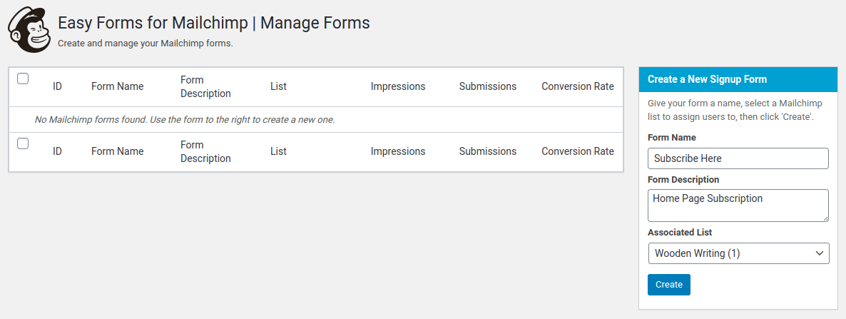 easy forms for mailchimp plugin