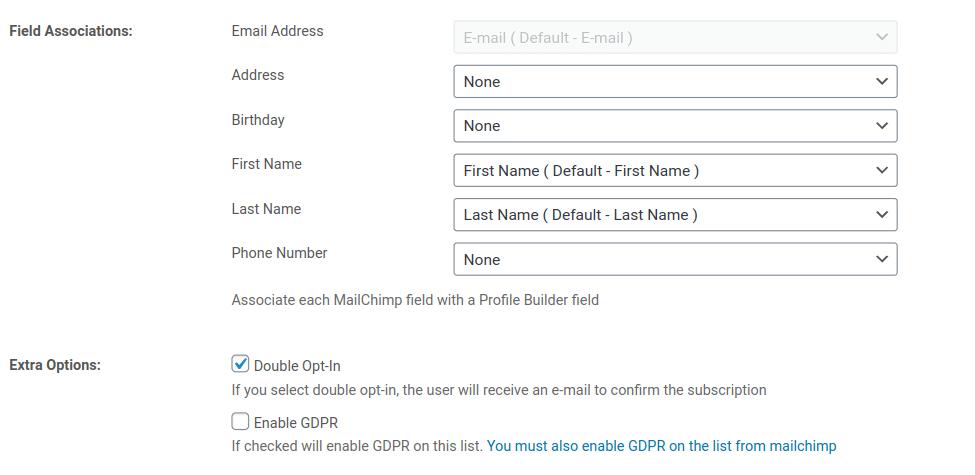mailchimp list fields