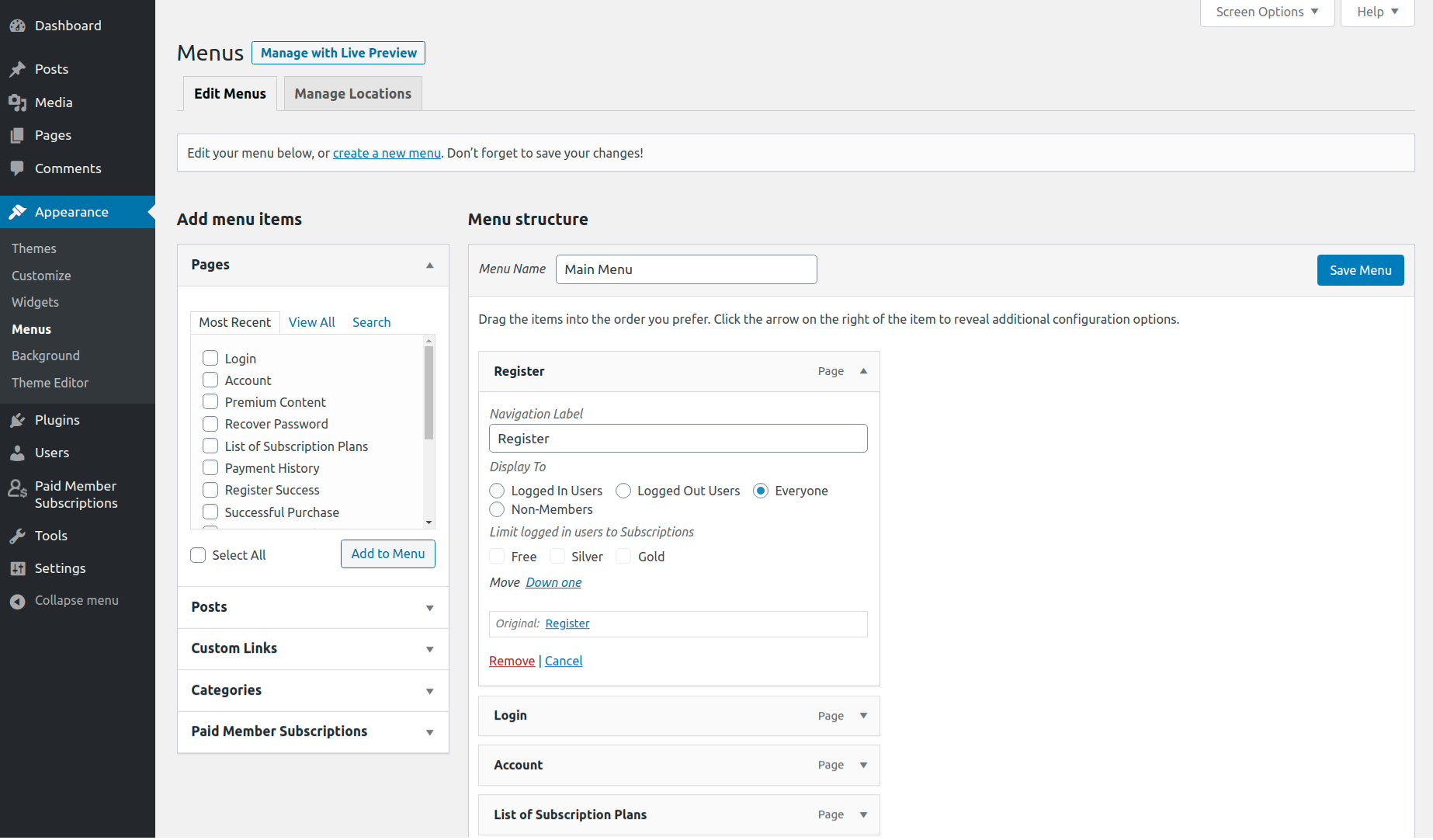 Paid Member Subscriptions Pro - Navigation Menu Filtering - Menu Items