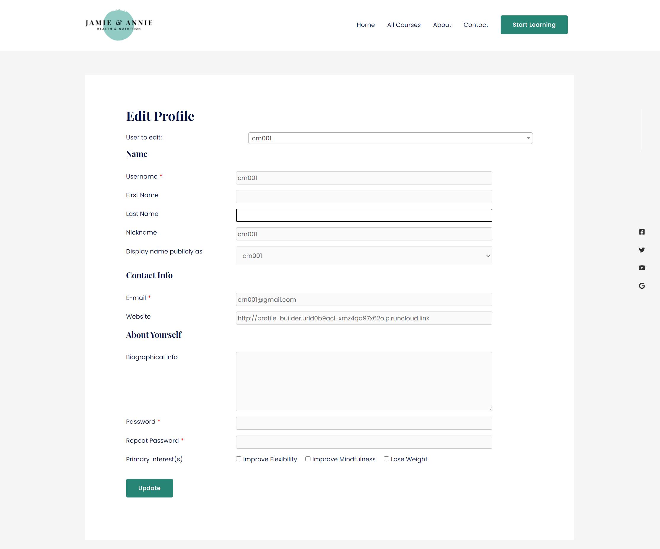 Profile Builder edit profile field