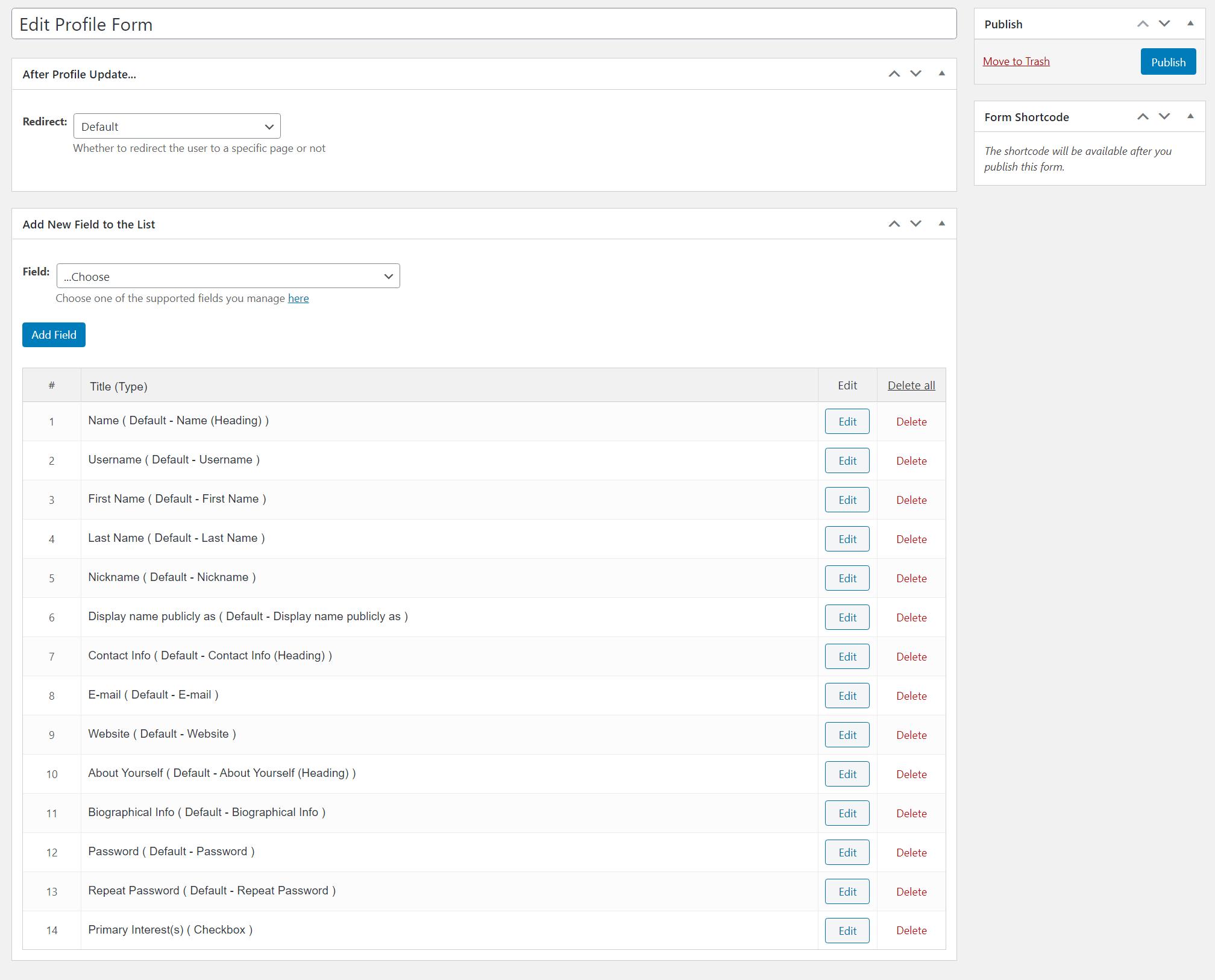 Control edit profile form