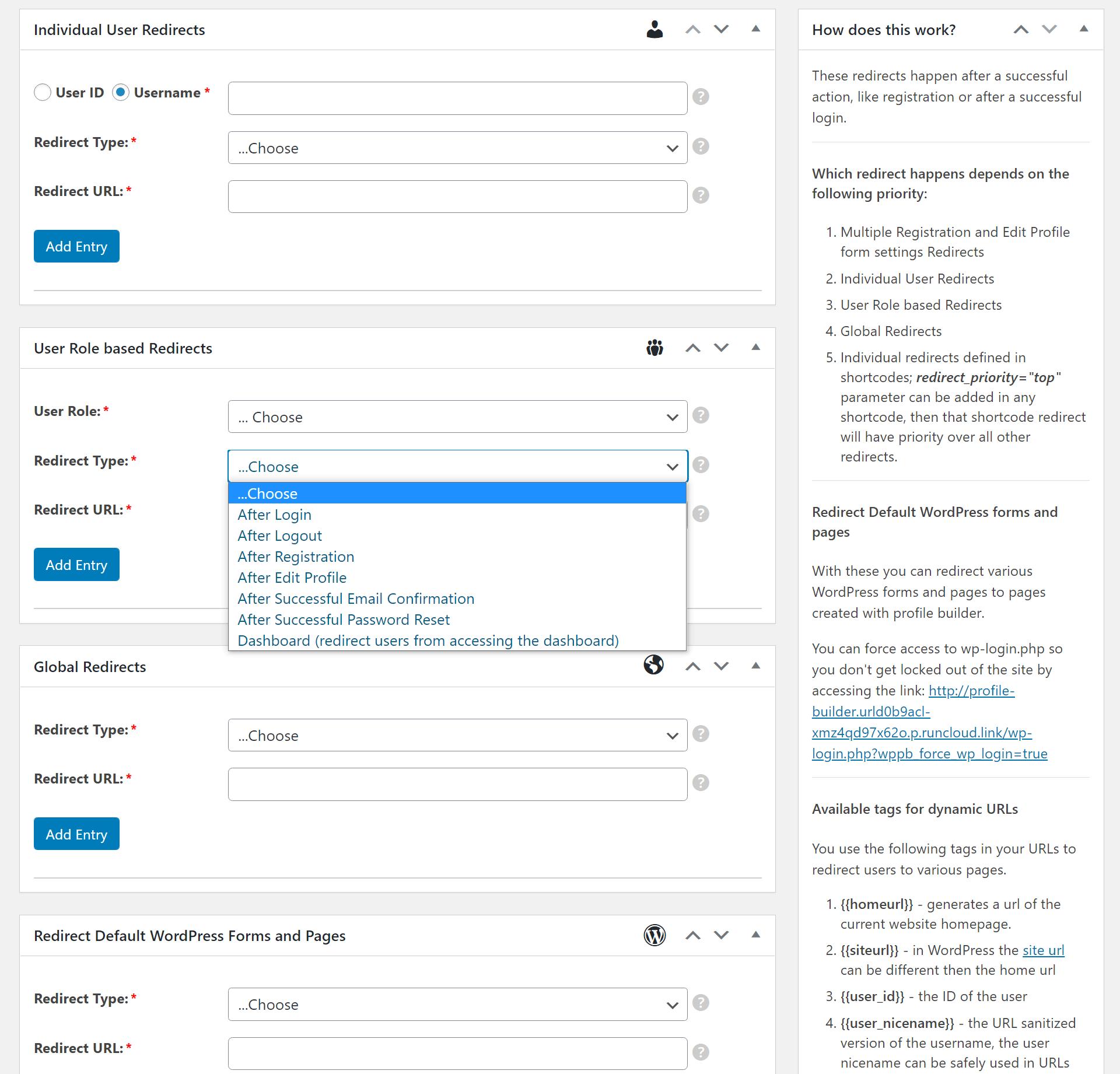 Create custom redirects