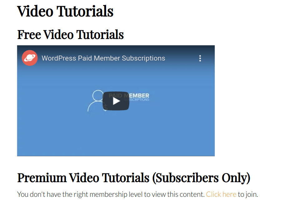 restrict video content shortcode