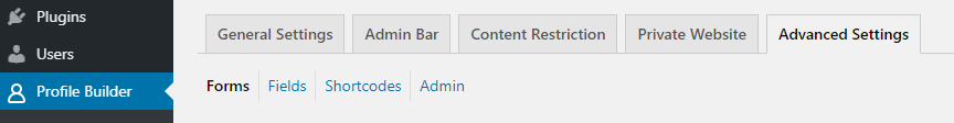 Profile Builder Advanced Settings page