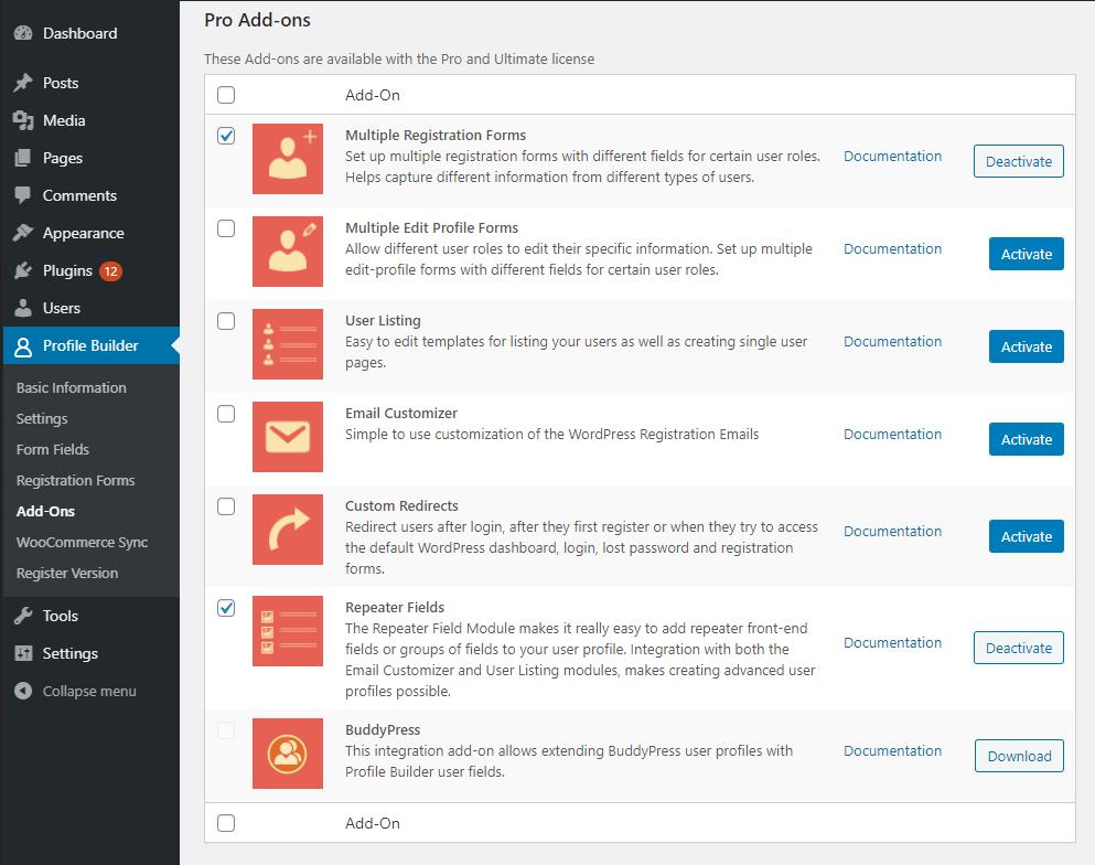 Profile Builder modules