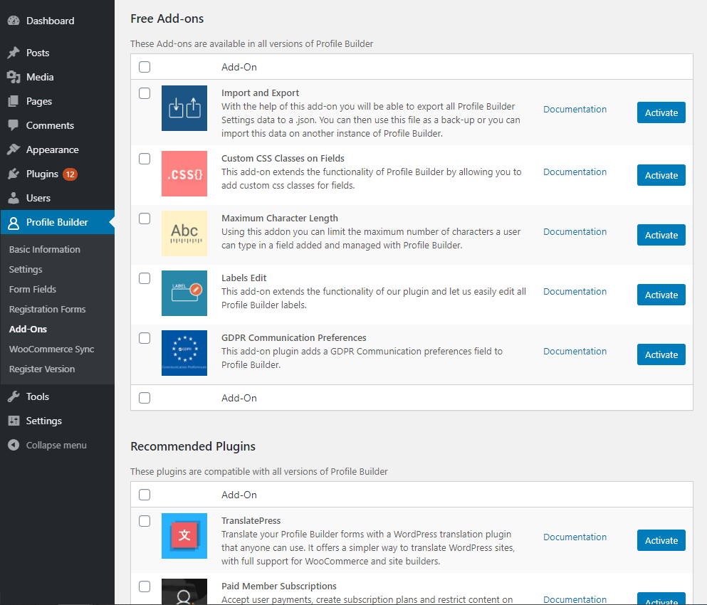 Profile Builder free addons