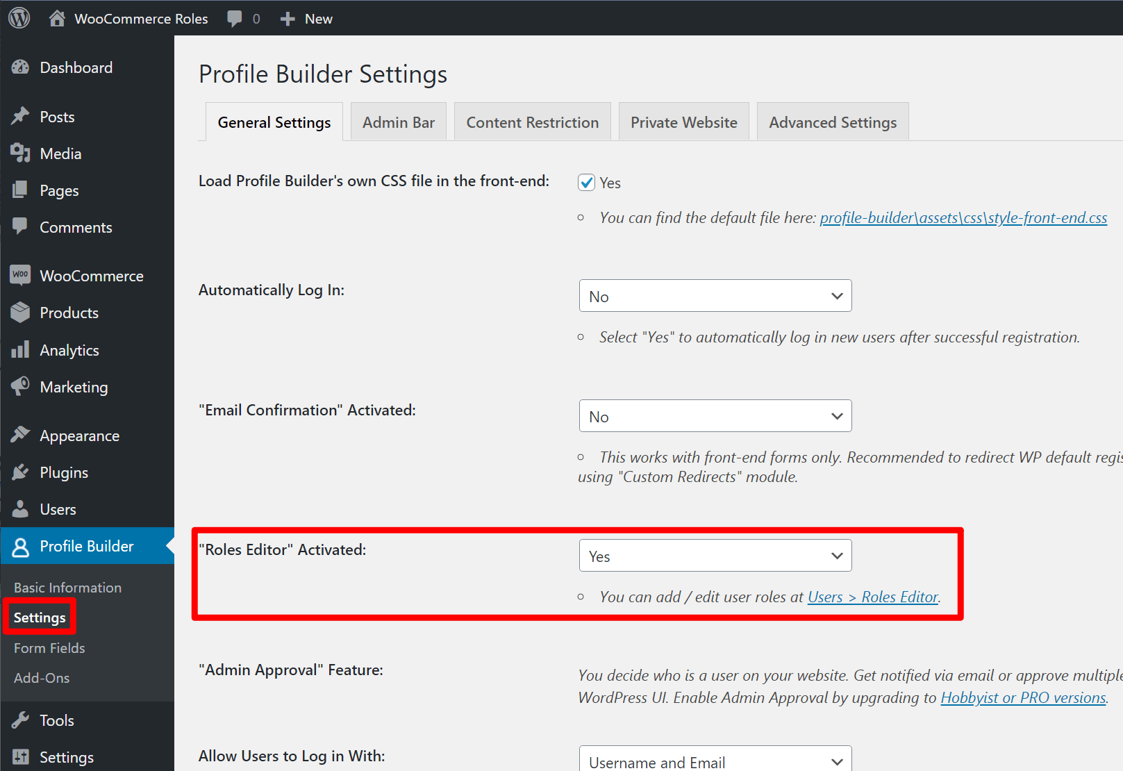 How to enable roles editor