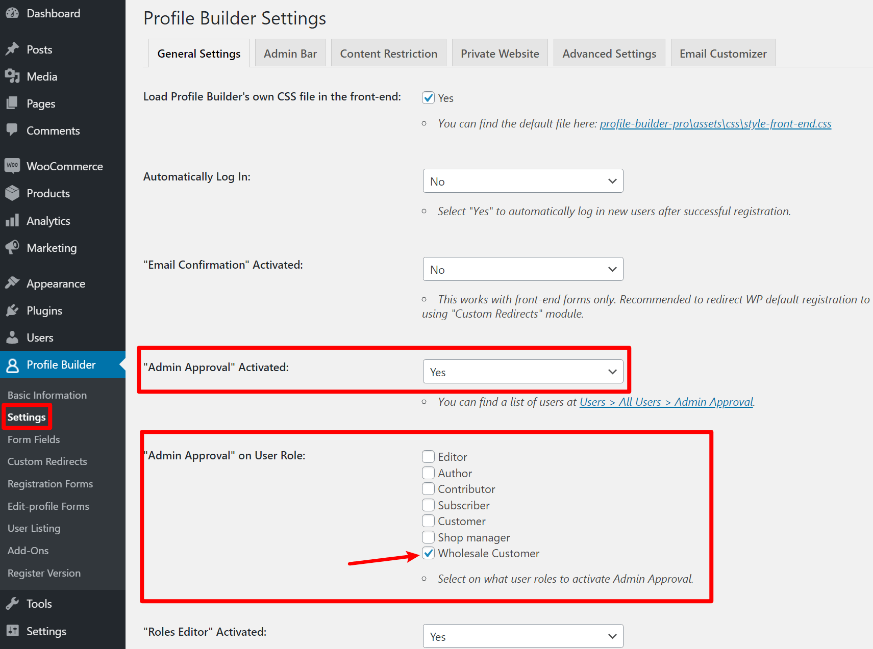 Require admin approval for WooCommerce roles
