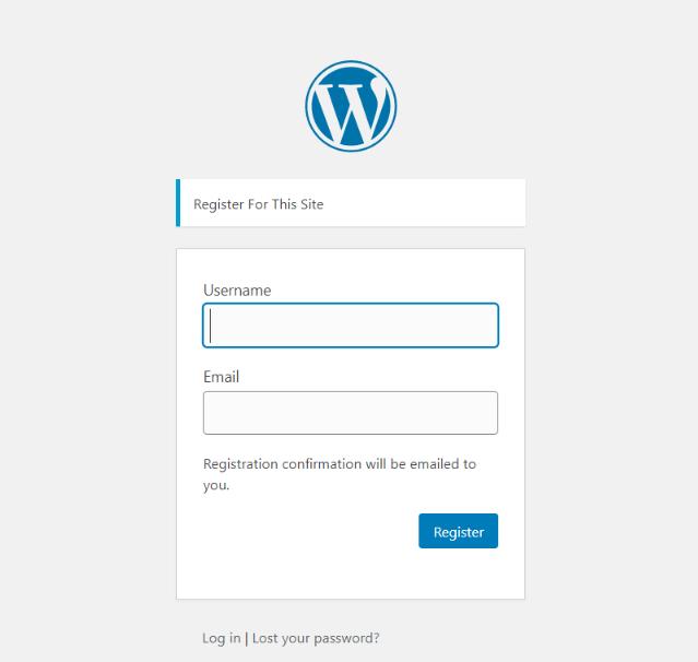 Standard WordPress Register Page