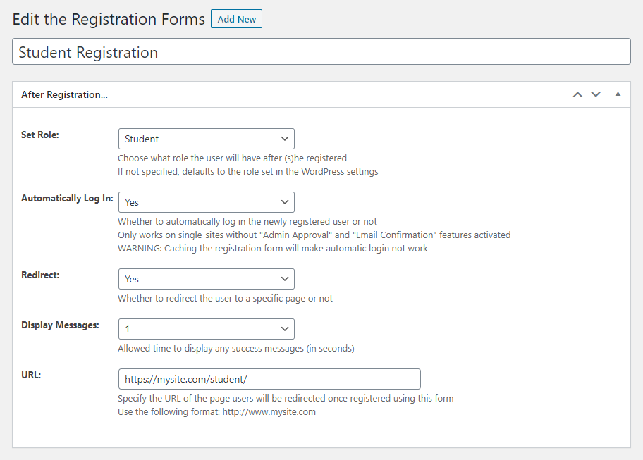 Adding a custom registration form