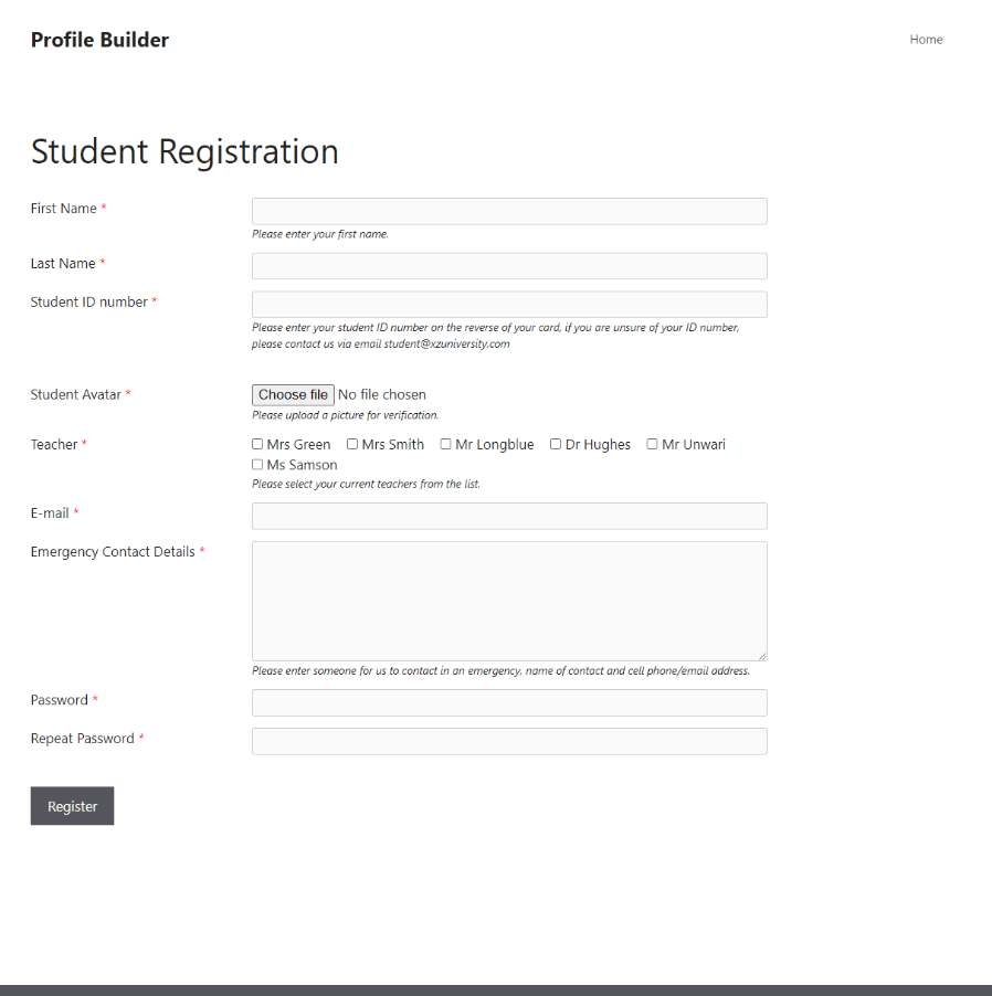 Custom WordPress registration from on front end