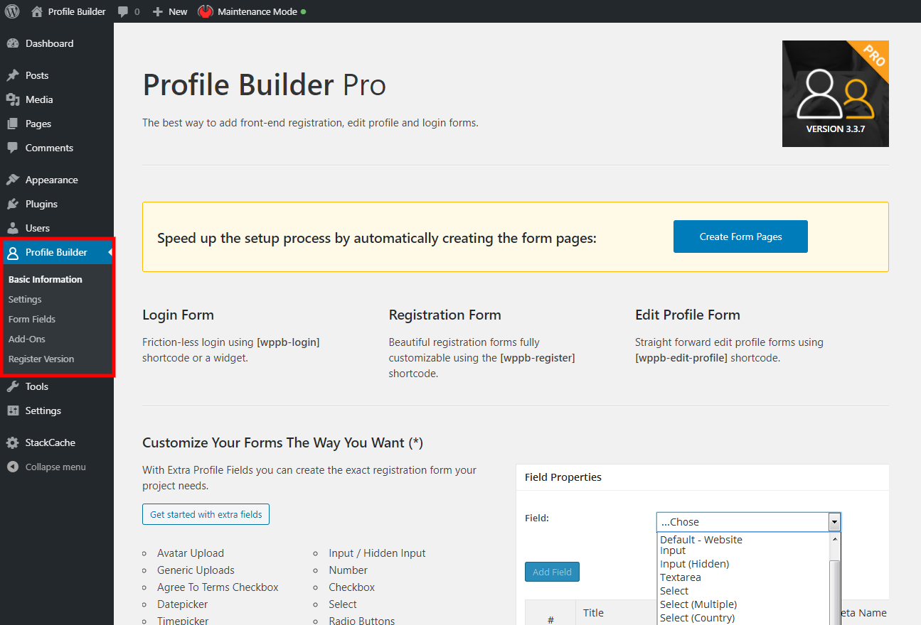 Profile Builder Settings
