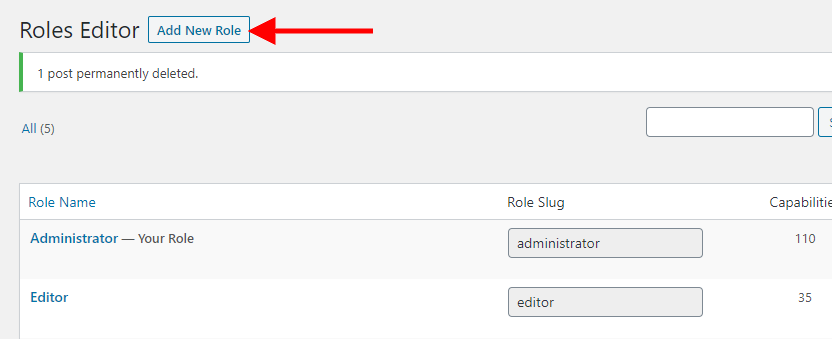 Add New Role for your custom WordPress registration page