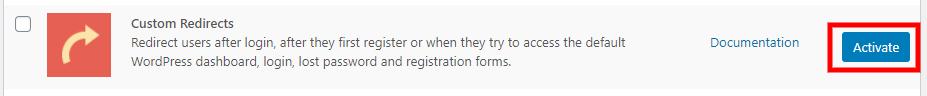 Activate Custom Redirects custom WordPress register page