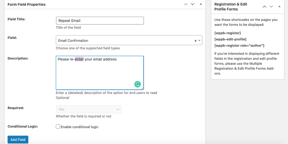 Adding email verification field to the registration form