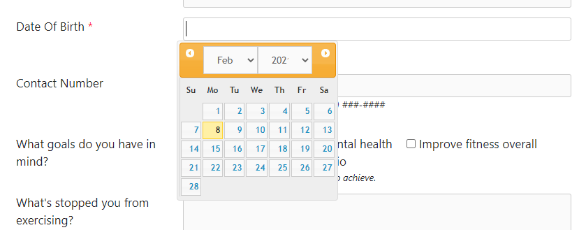 Date of birth date picker