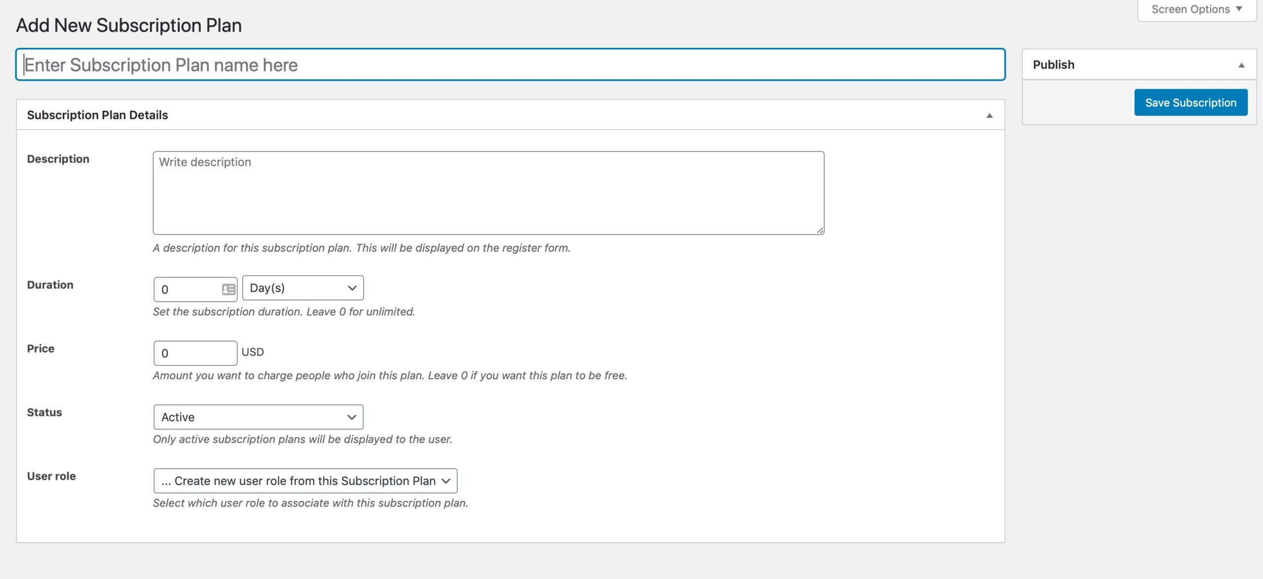 Screenshot of adding a new subscription plan