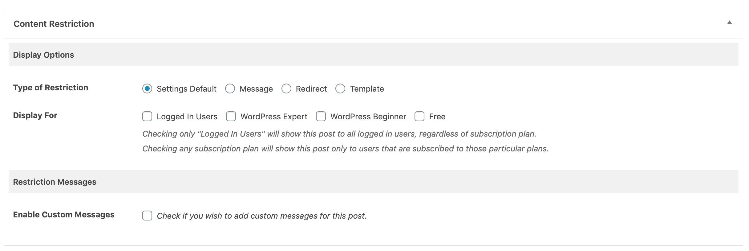 Screenshot of content restriction