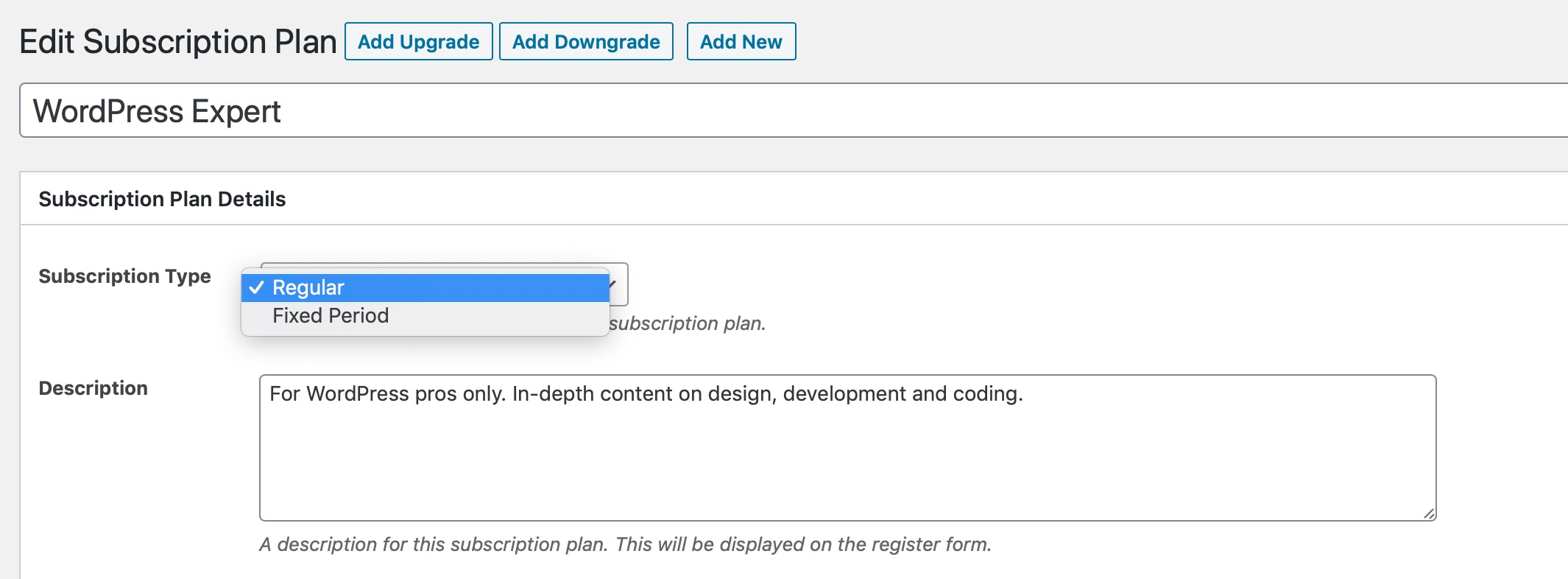 Screenshot of the fixed membership period options