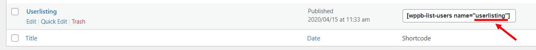 User Listing Name