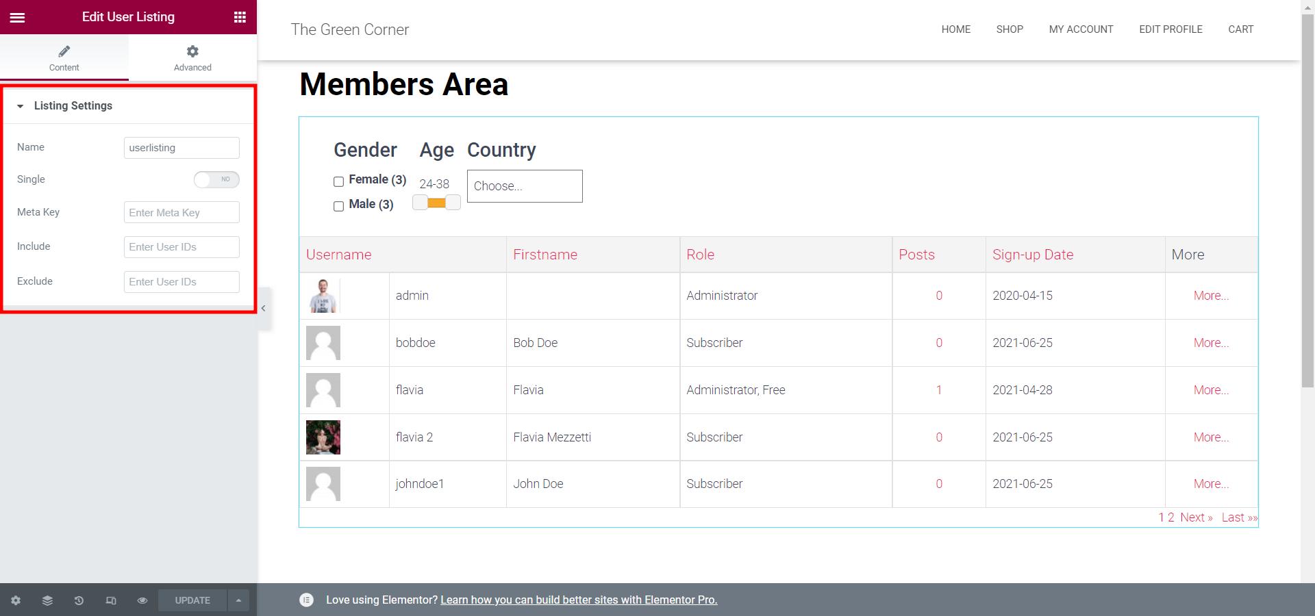 User Listing Widget Customization